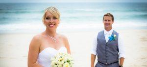 wedding portrait bride and groom Lighthouse Beach Ballina NSW