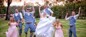 Gold Coast wedding photography bridal party jumping