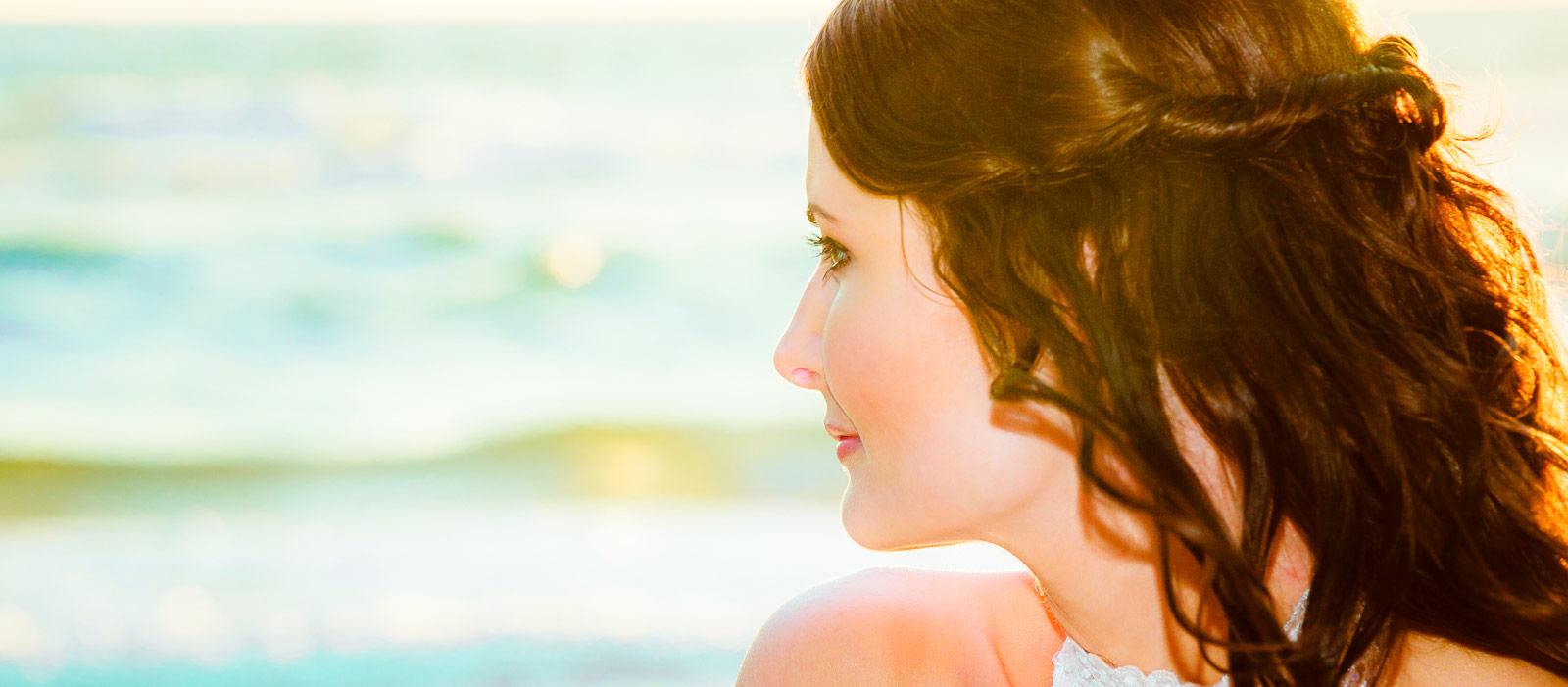 Photo of Byron Bay bride by Gold Coast wedding photographer Chris Harding