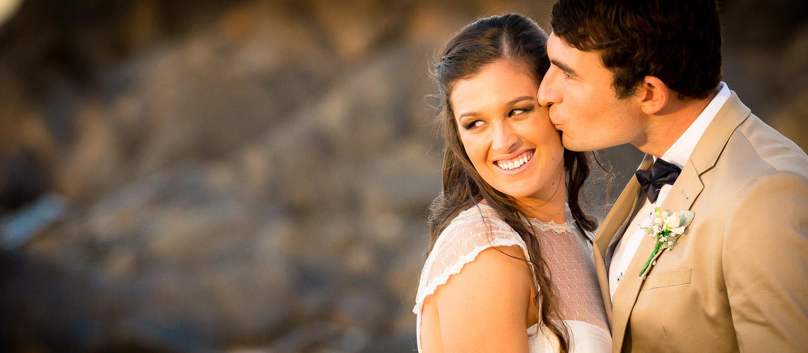 Bride and groom portrait at Cabarita Beach by Gold Coast wedding photographer Chris Harding