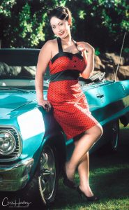 Pinup with Blue Chevy