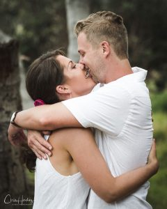 Bride and Groom Kissing Portrait