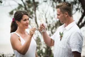 Bride and Groom Toasting Portrait