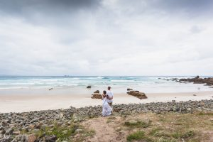 Bride and Groom Beach Portrait