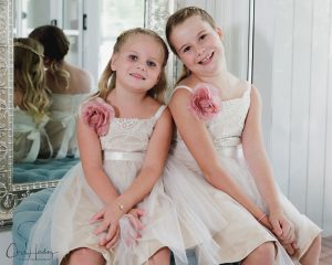 Flower Girls Posing Inside Pre-Wedding