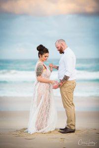 Bride and Groom Long Shot on Beach