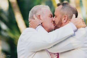 Groom and Groom Kissing