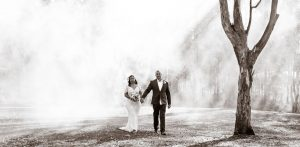 Bride and Groom Portrait Wide with Smoke